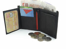 MENS RFID SAFE LUXURY BLACK SOFT LEATHER WALLET CREDIT CARD HOLDER COIN PURSE 48