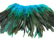 "100+ TURQUOISE TEAL BLUE HALF BRONZE ROOSTER SCHLAPPEN FEATHER 5""-7""L"