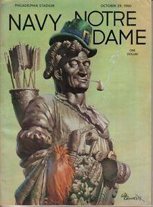 1960 10/29 football program Notre Dame Fighting Irish v Navy FAIR
