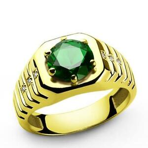 14k Solid Yellow Gold Mens Ring with Green Emerald Gemstone 6 DIAMOND Accents