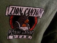 CAMPFIRE LODGE 'RAW BAR' ZION CANYON UTAH MEN'S SIZE XL GREEN GRAPHIC T-SHIRT