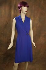 CALVIN KLEIN Women's Sleeveless Career Buckle Wrap Dress Royal Blue V NECK 8