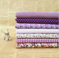 "Craft 7 Assorted Pre Cut Charm 10"" Squares Quilt DIY Cotton Fabric purple"