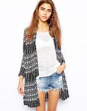 River Island Black geo print longline jacket/kimono size10 NWOT Boho Hippy