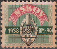 Stamp Germany Revenue WWII 3rd Reich War NSKOV Labor Front 1938 Used