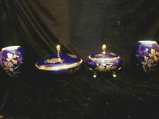 More details for royal bavarian porcelain kpm 2 vases and 2 lidded bowls gold flowers and leaves