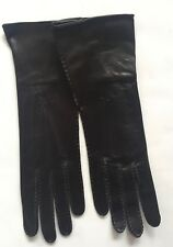 NWOT DONNA KARAN COLLECTION LADIES DK. BROWN LEATHER GAUNTLET GLOVES 7-1/2 ITALY