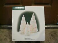 D 56 Department 56 Village Acessories Twinkling Lit Tree in White Set of 3 New