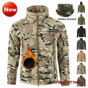 Windbreaker SoftShell Jacket Men's Tactical Coat Army Winter Fleece Waterproof
