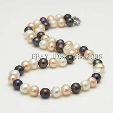 Fashion 8-9mm natural freshwater cultured round multicolor pearl necklace 18""