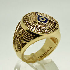 A.F.A.M Masonic 14K Solid Yellow Gold Ring Freemason Mans Size 11.5 UNIQABLE
