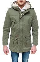 Parka uomo invernale giaccone eskimo verde militare con pelliccia da S a 3XL