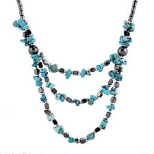 New Women Tiny Natural Stone Linked Chain Hematite Multilayer Statement Necklace