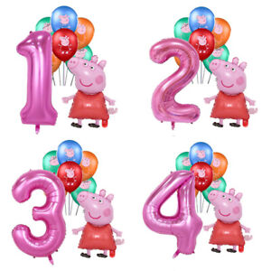 Set Of Peppa Pig Foil Number Balloons Children Birthday Party Latex