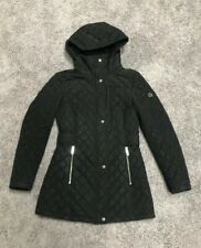 Womens Black Calvin Klein Hooded Quilted Lined Winter Parka Jacket Coat, XS