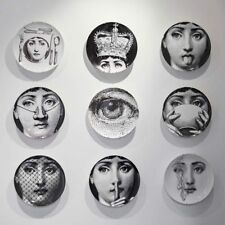 Wall Dish Hanging Plate Milan Black & White Print Home Decor