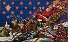 "Vintage Christmas 100% Cotton Tapestry Santa Sleigh & Reindeer Village 48"" x 40"""
