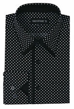 Men's New fashion mini-polka dot design dress shirt, double collar Black #AH617