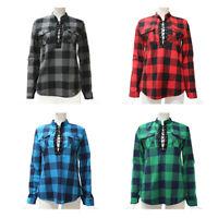 Camisas de cuadros de mujer Blusas de manga larga otono primavera Tunica ca Y7L8