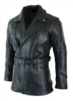 Men's Black 3/4 Motorcycle Biker Long Cow Hide Leather Jacket/Coat