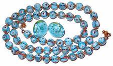 Vintage Murano Glass Bead Necklace Earrings SET Blue Millefiori Bead Mid Century