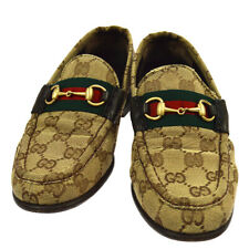 GUCCI Shelly Line GG Pattern Shoes Loafers Brown Canvas 34 1/2 C 0510/8 S09222