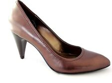 MARKS & SPENCER LADIES MATTALLIC DARK GOLD LEATHER HEELS COURT SHOES WOMANS UK 4