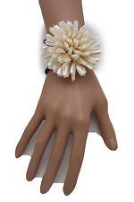 Women Bracelet Cream White Beads Flower Charm Elastic Cuff Band Fashion Jewelry