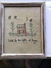 Primitive Log Cabin Moon & Stars Sampler/Stitching Picture Framed