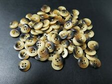 """(50) Turtle Shell BROWN Variegated Buttons 1/2"""" 13 mm Acrylic Plastic 4 Hole"""