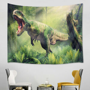 Dinosaurs Destroy Forest Trees Scene Tapestry Wall Hanging Living Room Bedroom