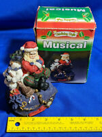 Vintage Holiday Style Musical Santa Claus Music Box Decor Snowman Jingle Bells