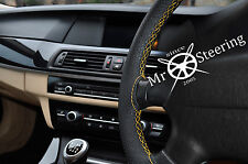 FOR LANCIA MUSA 04+ PERFORATED LEATHER STEERING WHEEL COVER YELLOW DOUBLE STITCH