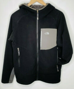 THE NORTH FACE Boys Sherpa Lined Fleece Full Zip Jacket w/Hood, Black, X-Large
