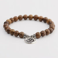 Fashion Buddha OM Lotus Pendant Sandalwood Wooden Beads Yoga Reiki Bracelet Gift