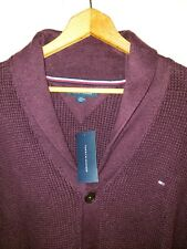 TOMMY HILFIGER SHAWL COLLAR BUTTON THICK SWEATER CARDIGAN 3XL NWT BURGUNDY