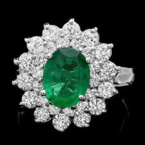 3.30Ct Natural Emerald & Diamond 14K Solid White Gold Ring