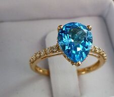 NEW 3ct Swiss Blue Topaz & Diamond Solitaire Ring Band 10K Yellow Gold Size 7