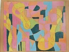 Huile sur carton abstraction forme libre Mélancolie Bizierr 1957 original