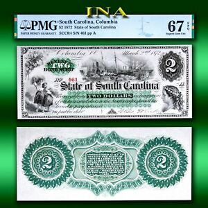 State of South Carolina 1872 $2 Currency Superb Unc PMG 67 EPQ Perfect Margins