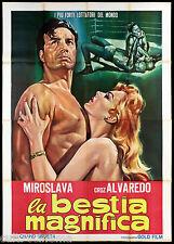LA BESTIA MAGNIFICA MANIFESTO CINEMA LOTTA LIBERA WRESLING 1952 MOVIE POSTER 4F