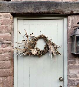 Handmade Wild Autumn Winter Xmas Door Wreath, Dried Pampas Grasses Fern & Leaves