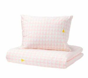 Ikea Stillsamt Single Duvet Set 150x200 cm 1 Pillowcase Pink White Triangles