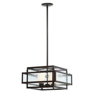 Hampton Bay 27132 Lara 2-Light Geo Bronze Pendant with Geometric Glass Shade
