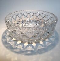 Crystal Bowl with Criss Cross Pattern and Etched Cube Base 7 1/2 inch DIameter