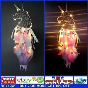 White Unicorn LED Light Up Pink Dream Catcher - Batteries Included - UK Seller