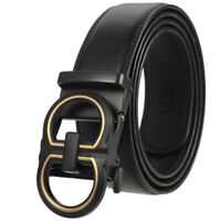 Business Men's Designer Leather Belt Automatic Buckle Belt Ratchet Strap Jeans