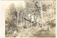 Men & Women on a Rope & Board Bridge in the Woods Vintage Real Photo Postcard