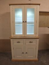 RUTLAND PAINTED 2 DOOR DISPLAY DRESSER HAND MADE ROUGH SAWN BESPOKE COLOUR SIZES
