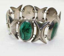 .925 Sterling Silver Bracelet with Oval Malachite Stones